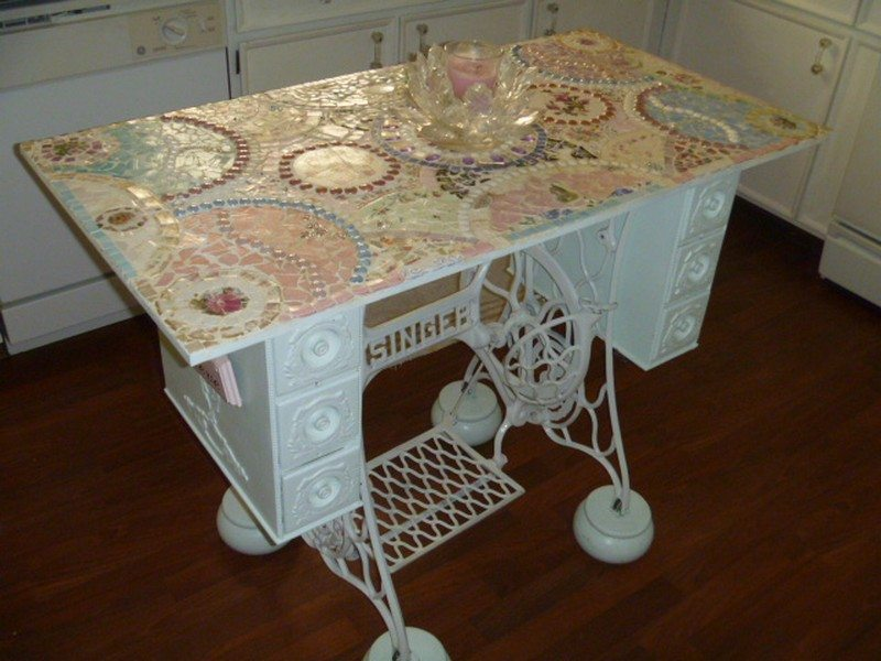 upcycled old sewing machine table - Kitchen Table Sewing