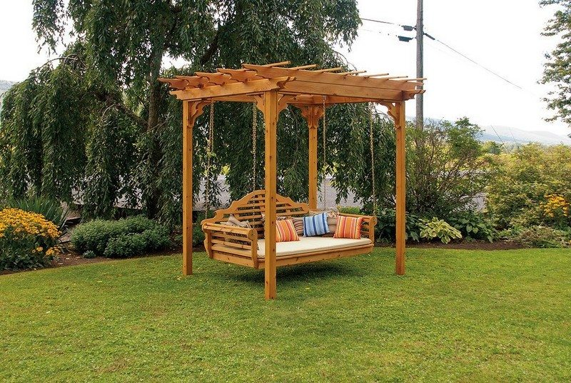 Outdoor Cedar Swing Bed & Pergola