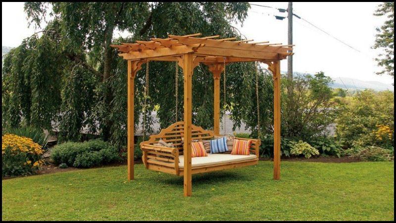Outdoor Cedar Swing Bed & Pergola