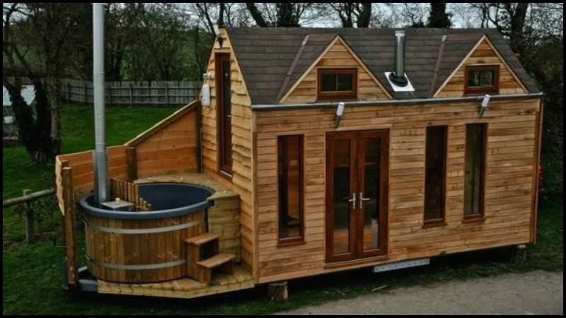 Tiny house on wheels with hot tub