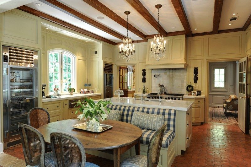 Kitchen island with built in seating inspiration the for Kitchen in front of house plans