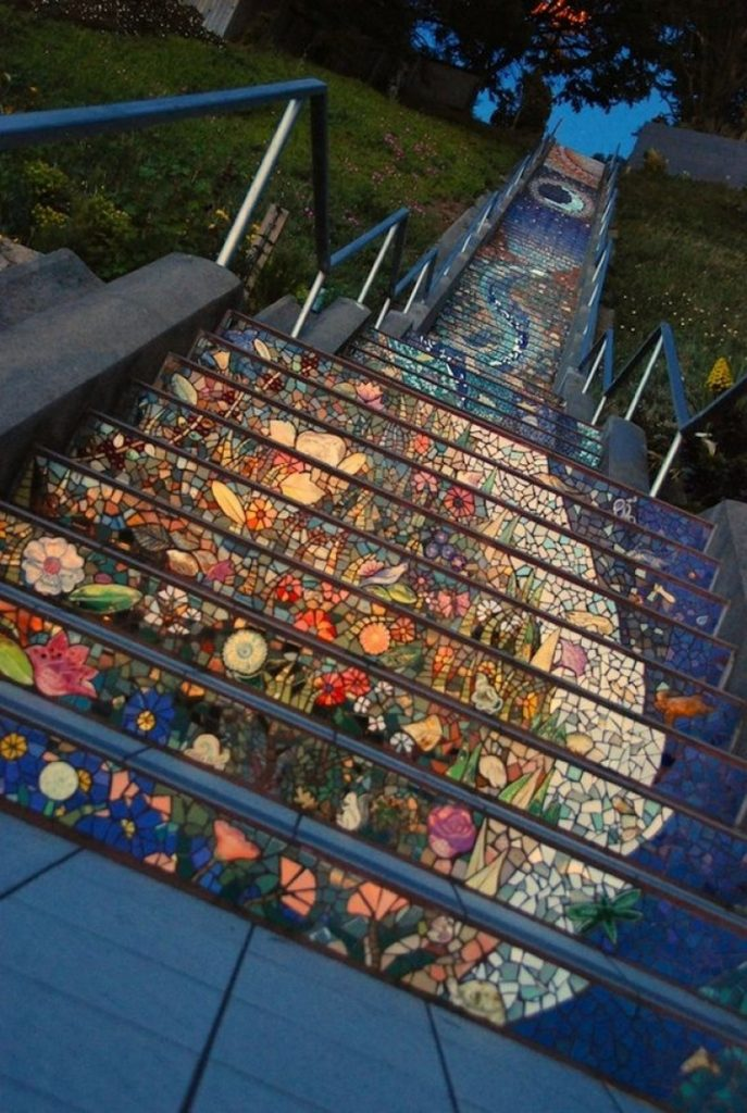 Amazing tiled staircases!