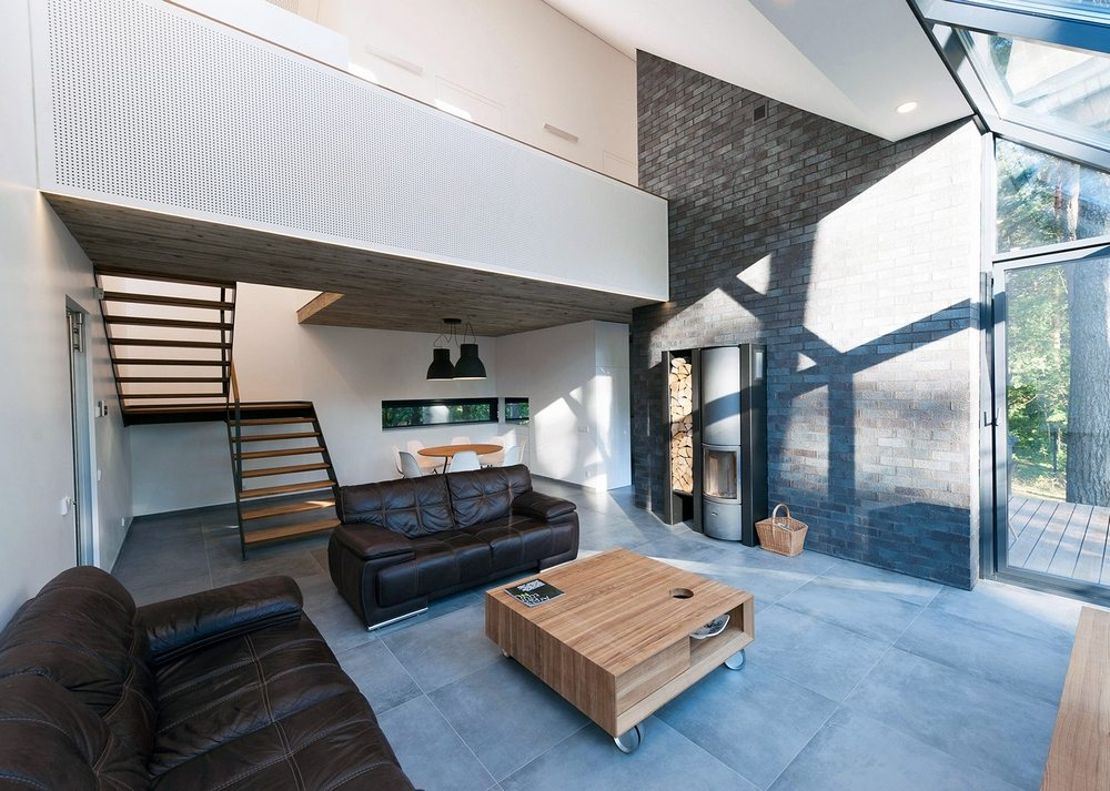 A high-ceiling living area allows music to reverberate throughout the house.
