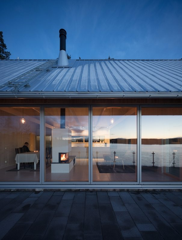 Large glass walls allow unrestricted views of the surrounding scenery.