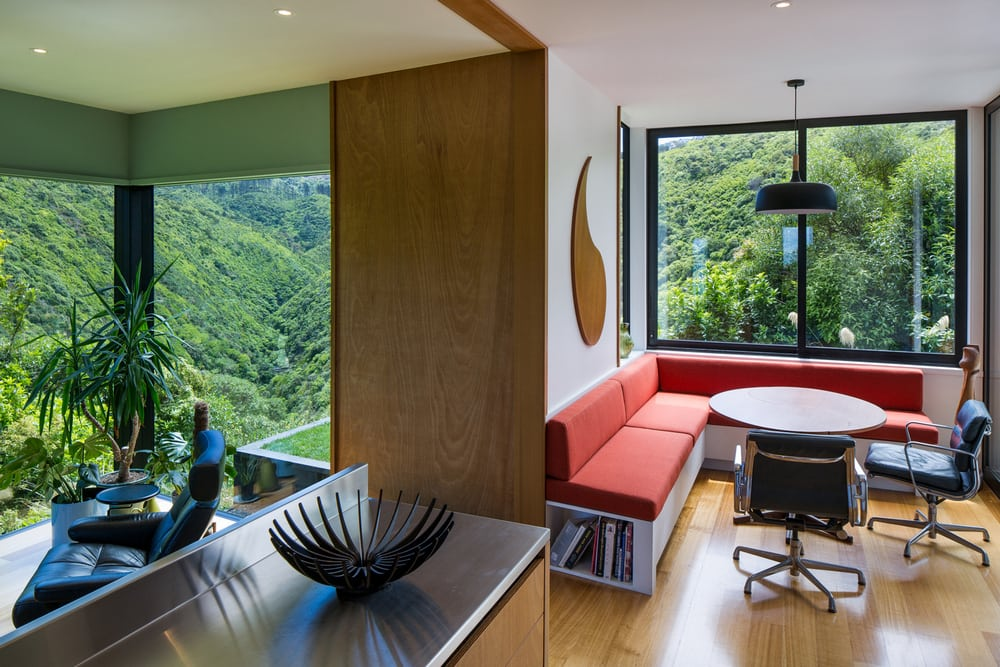 Environmentally-sensitive materials were used - bamboo flooring and stained cedar weatherboard.