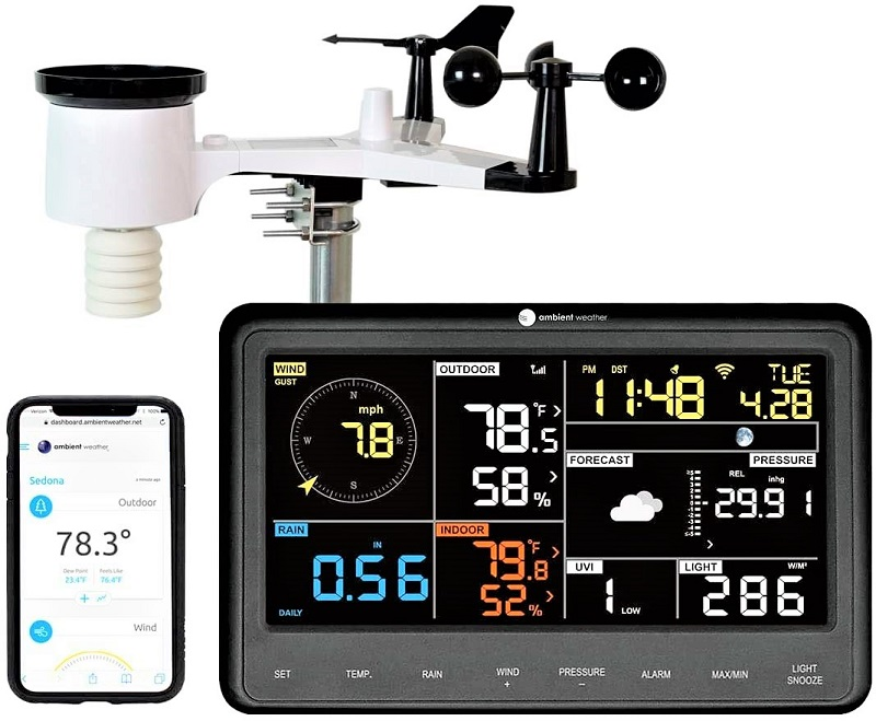 Ambient Weather's WS-2902C is a solar-powered wireless device that uses Wi-Fi to process data.