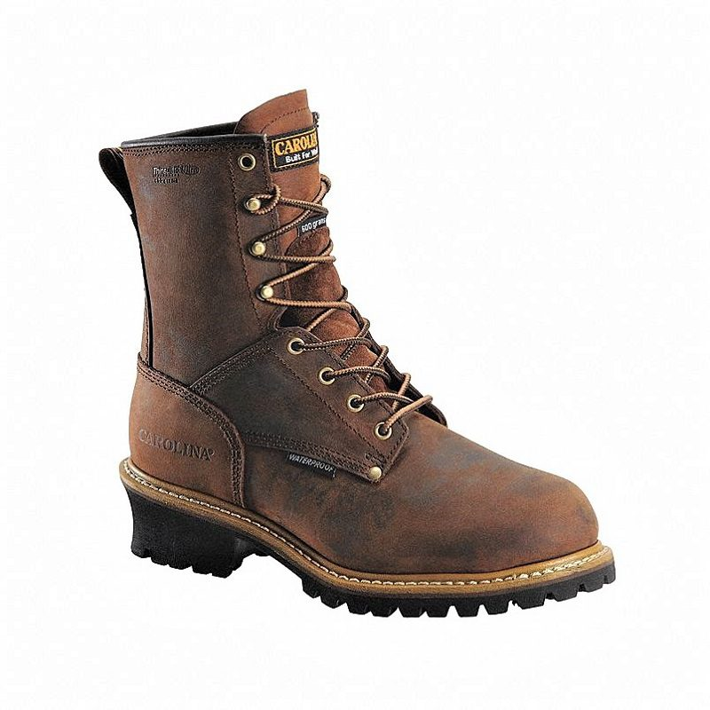Carolina Elm Plain-Toe Work Boots are styled after traditional all-leather loggers. While boots of this style often require days of break-in, Carolina's work boots are fairly comfortable right out of the box.